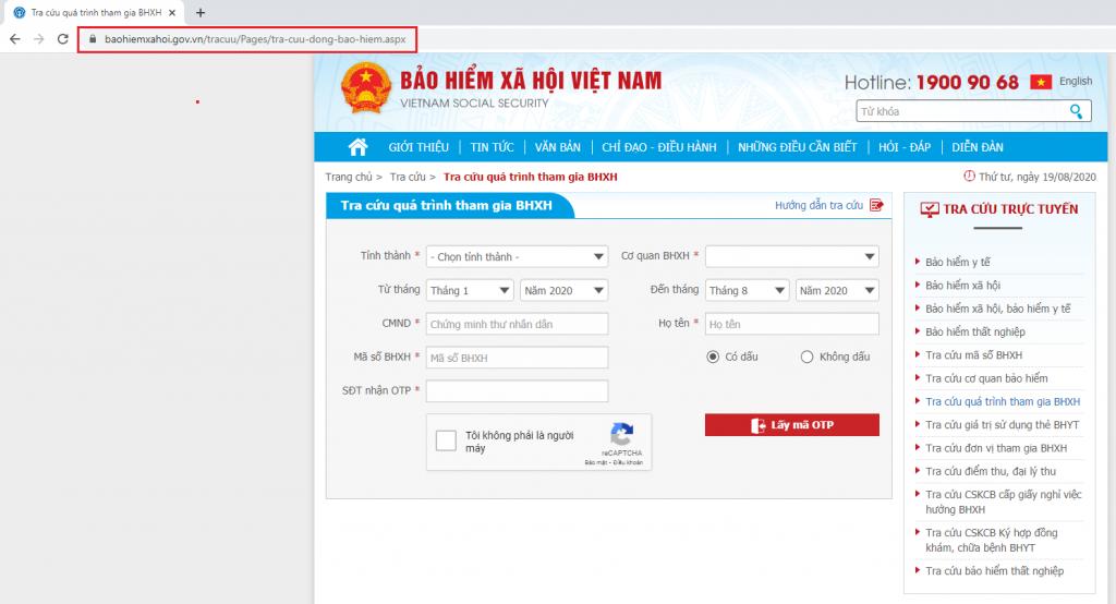 Truy cập vào website Bảo hiểm xã hội Việt Nam